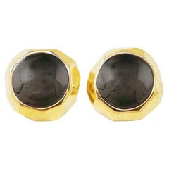 Faceted Gilt & Onyx Cabochon Button Statement Earrings by St. John, 1980s