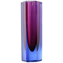 Faceted Italian Murano Purple and Blue 'Sommerso' Glass Vase, circa 1960-1969
