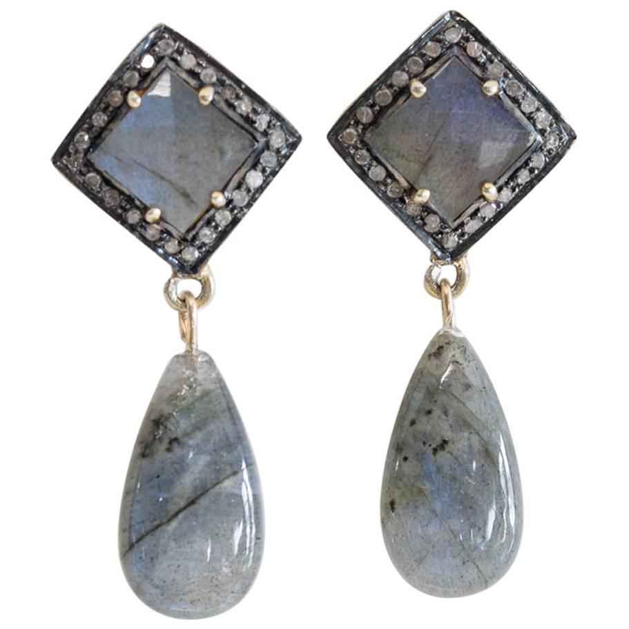 Faceted Labradorite and Diamond Drop Earrings