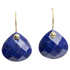 Faceted Lapis Lazuli and 18 Karat Gold Drop Earrings