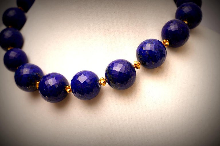 Faceted Lapis Lazuli and 22 Karat Gold Necklace 2