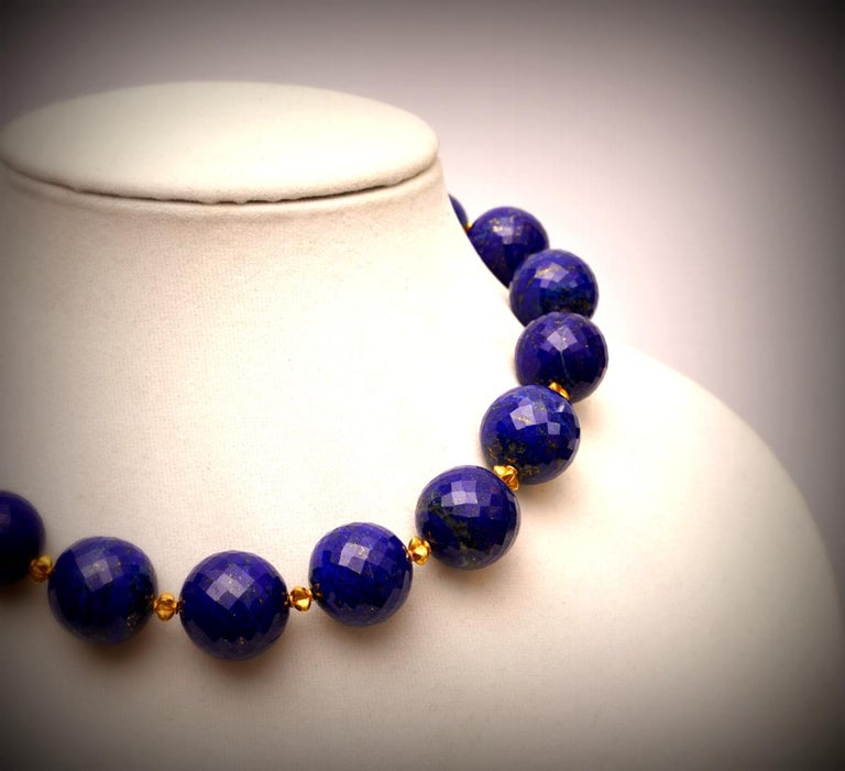 Faceted Lapis Lazuli and 22 Karat Gold Necklace 3