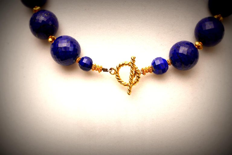 Faceted Lapis Lazuli and 22 Karat Gold Necklace 4