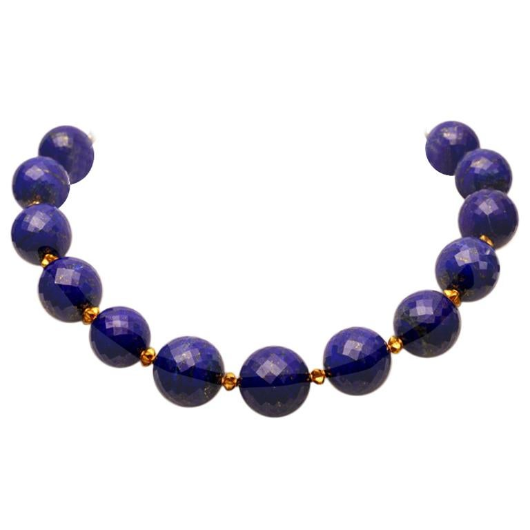 Faceted Lapis Lazuli and 22 Karat Gold Necklace 1