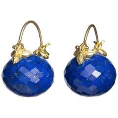Gabrielle Sanchez Faceted Lapis Rondelle 18 Karat Flyer Earrings