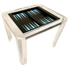 Faceted Lucite Backgammon Table with Removable Cover