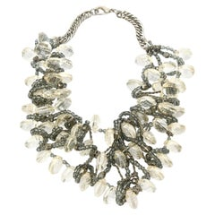 Faceted Lucite, Chain, Beads And Silver Bib Multi Strand Necklace