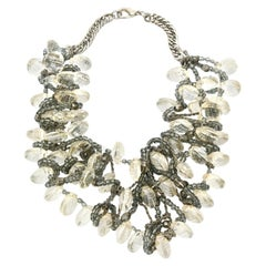 Faceted Lucite Chain Beads And Silver Bib Multi Strand Necklace Vintage