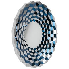 Faceted Mirror in Midnight Blue Colored Steel, Terrace by Jake Phipps