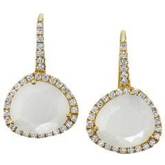 Faceted Moonstone and Diamond Halo Yellow Gold Lever Back Drop Earrings