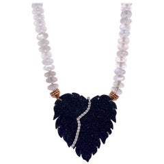 Faceted Moonstone Necklace with a Black Druzy Quartz Clasp with White Diamonds