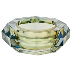 Faceted Murano Sommerso Diamond Cut Glass Bowl Attributed to Mandruzzato