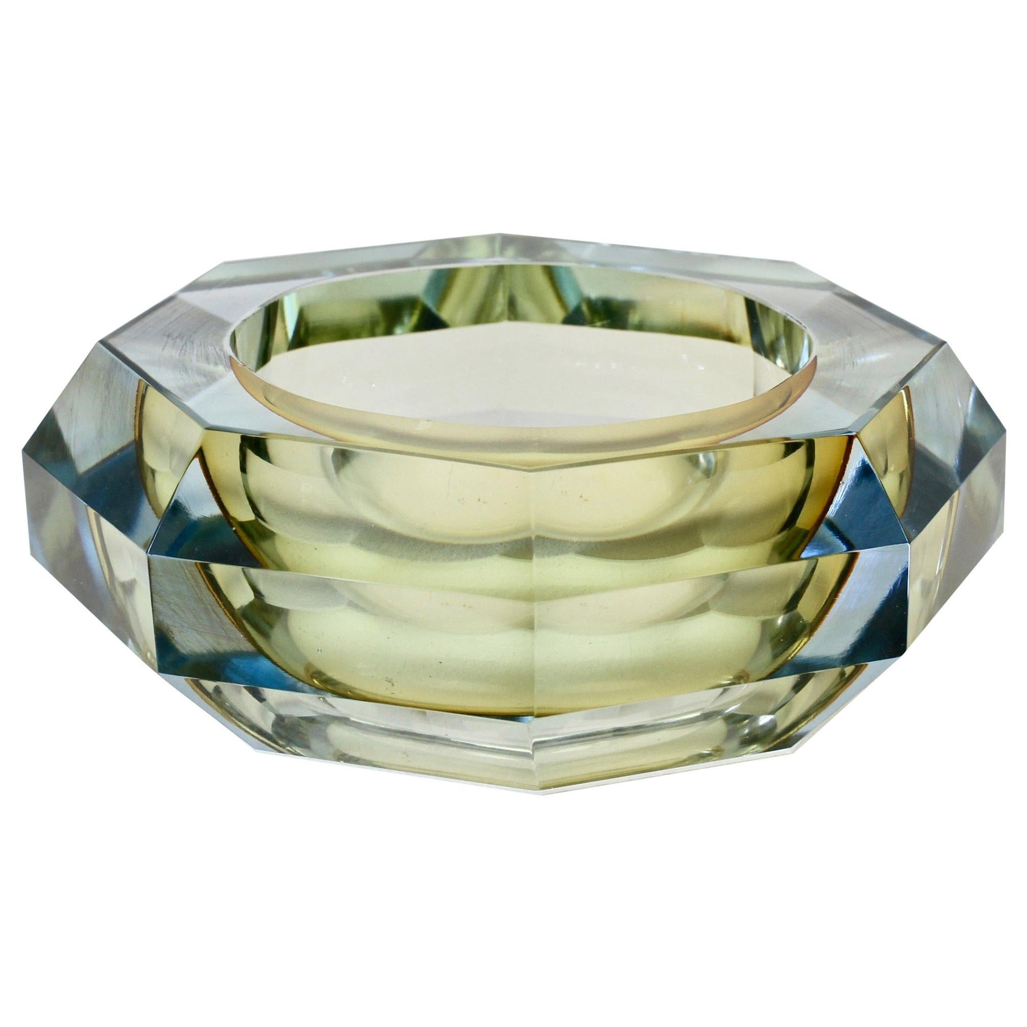 Faceted Murano Sommerso Diamond Cut Glass Bowl Attributed to Mandruzzato