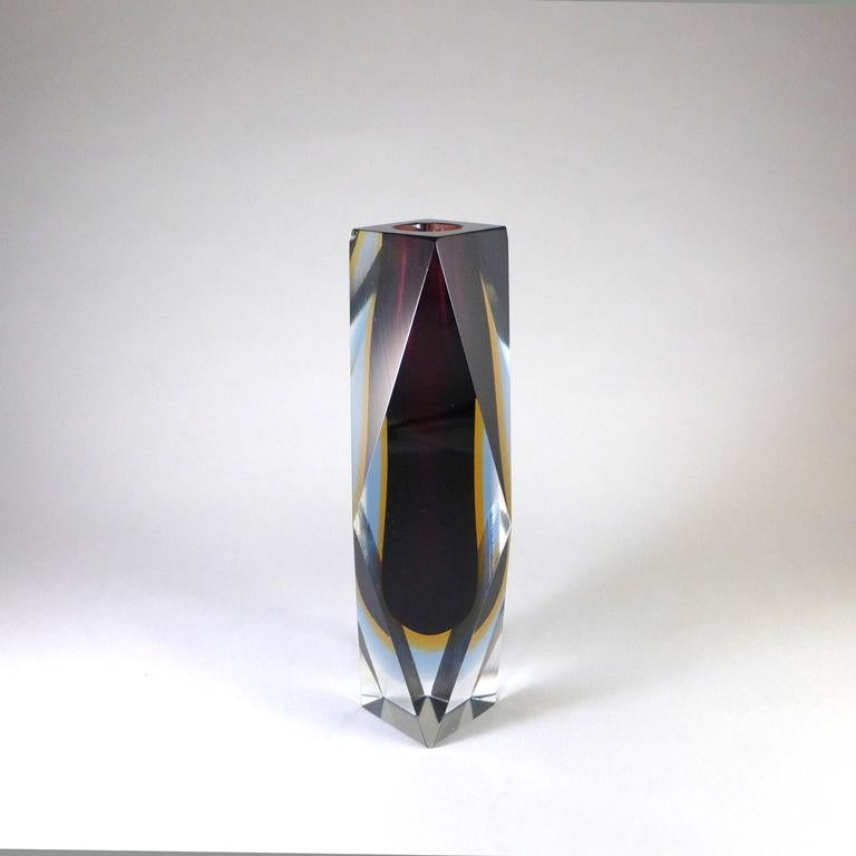 Faceted Murano Sommerso Glass Vase In Fair Condition For Sale In London, GB