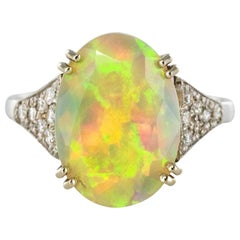 Art Deco Style Faceted Opal Diamond Gold Ring