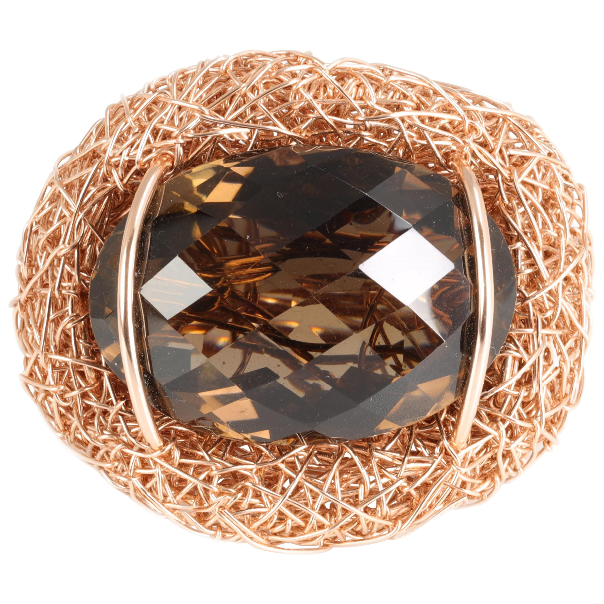 Faceted Oval Smoke Quartz Cocktail Ring Statement by the Artist 14 kt Rose GF