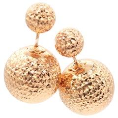 Faceted Plain 18 Karat Rose Gold Double Ball Everyday Light Flattering Earrings