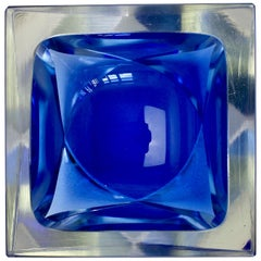 Faceted Blue and Clear Murano Sommerso Cut Glass Bowl Attributed to Mandruzzato