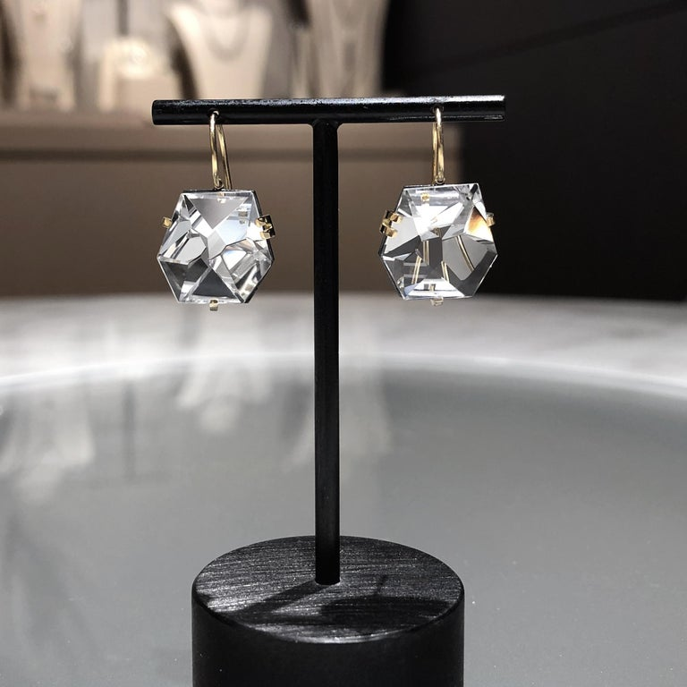 Artist Faceted Rock Crystal Gold Oxidized Silver Handmade Drop Earrings For Sale