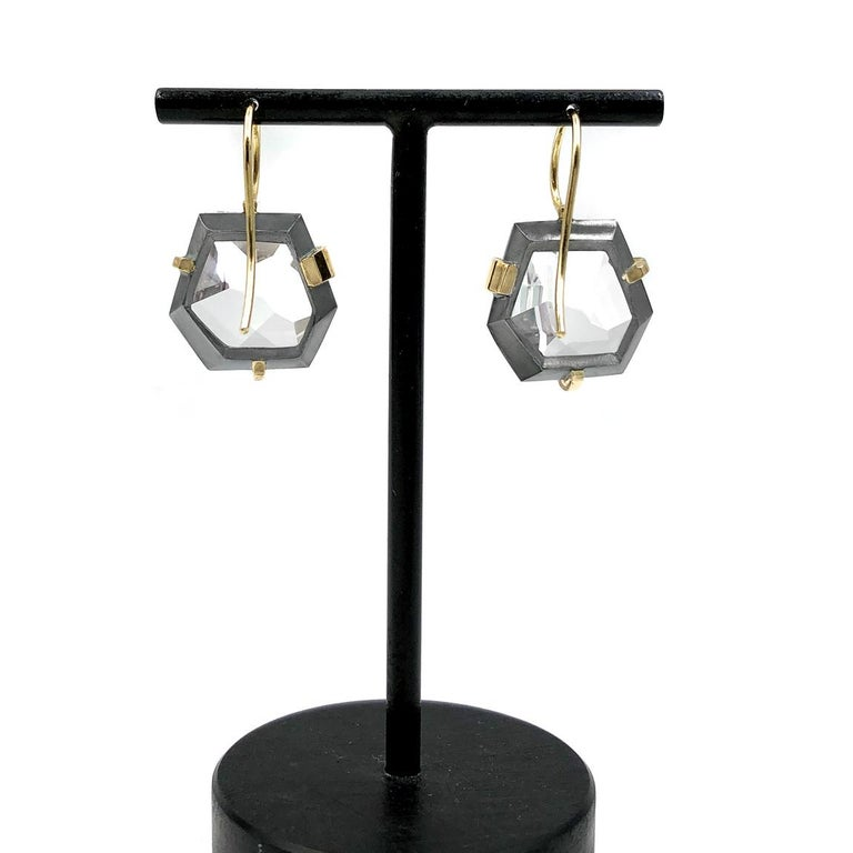 Faceted Rock Crystal Gold Oxidized Silver Handmade Drop Earrings In New Condition For Sale In Dallas, TX