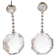 Faceted Rock Crystal Octagon Pearl Drop Round 925 Sterling Silver Chain Earrings