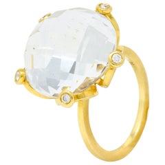 Faceted Rock Crystal Quartz Diamond 18 Karat Gold Floral Statement Ring