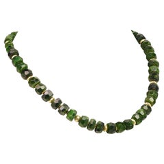 Faceted Rondelles of Green Chrome Diopside Necklace