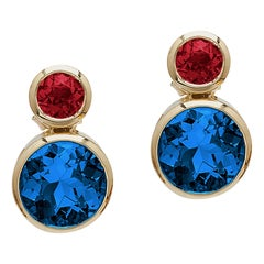 Goshwara Round London Blue Topaz and Garnet Earrings