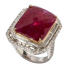Faceted Ruby Diamond Cocktail Ring
