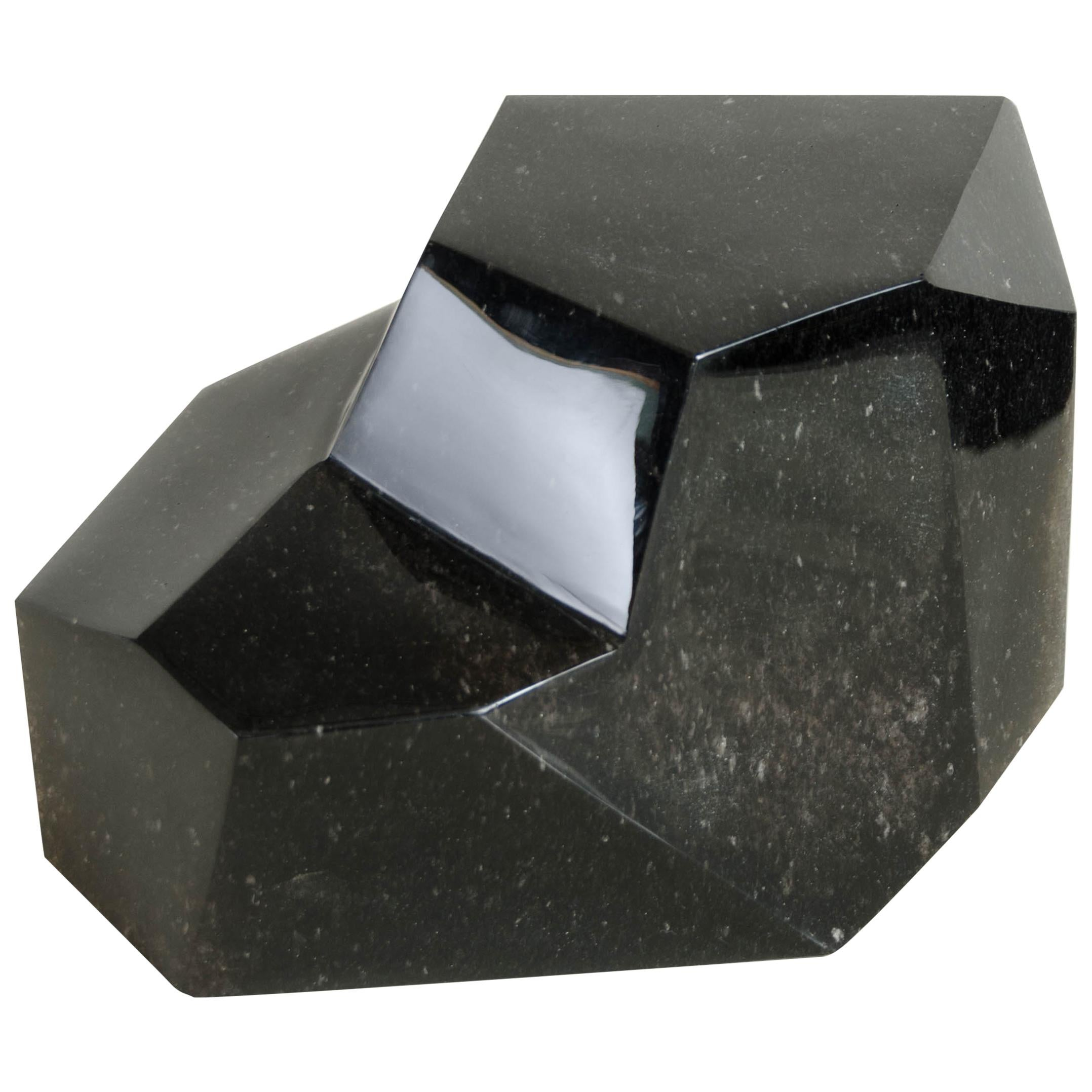 Faceted Sculpture, Small, Black Crystal by Robert Kuo, Hand Carved, Limited