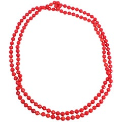 Faceted Sea Coral Bead Long Rope Necklace, Genuine Colored Coral, 70""