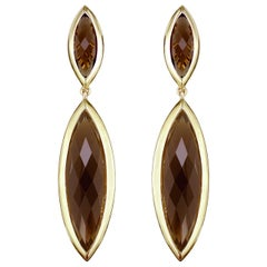 Hammerman Brothers Faceted Smokey Topaz and Diamond Drop Earrings