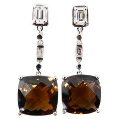 Faceted Smoky Quartz and Emerald Step Cut Diamond Drop Earrings, 18 Karat Gold