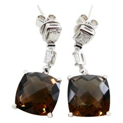 Faceted Smoky Quartz and Step Cut Diamond Drop Earrings, 18 Karat White Gold