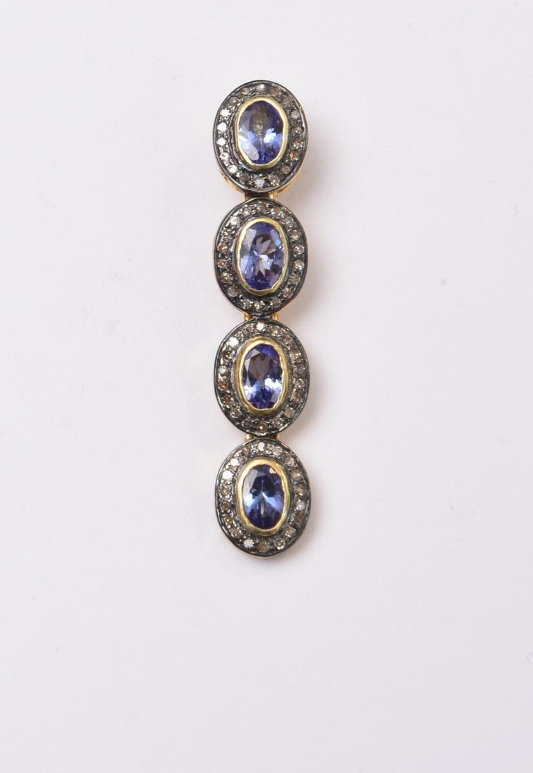 Oval Cut Faceted Tanzanite and Diamond Drop Earrings For Sale