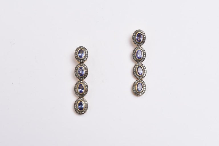 Faceted Tanzanite and Diamond Drop Earrings In Excellent Condition For Sale In Nantucket, MA