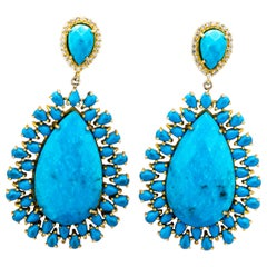 Faceted Turquoise And Cubic Zirconia Sterling Vermeil Earrings
