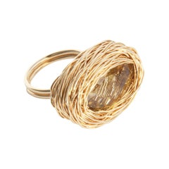 Faceted Vibrant Citrine in Yellow Gold Cocktail Statement Ring by Sheila Westera