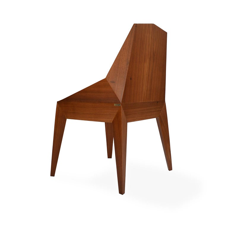 Veneer Faceted Wood Chair, Triarm, Contemporary Brazilian Design For Sale