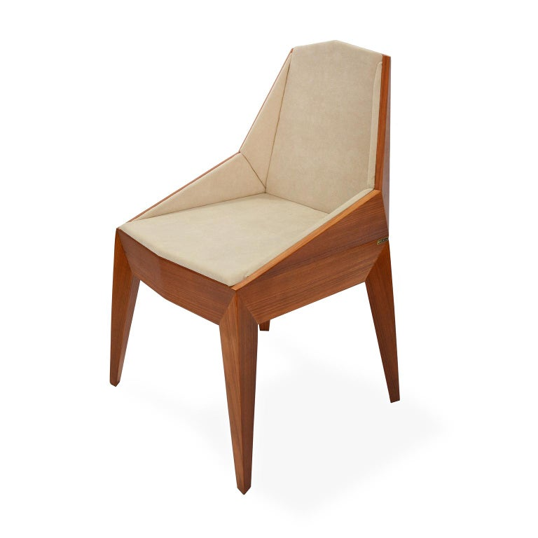 Faceted Wood Chair, Triarm, Contemporary Brazilian Design In New Condition For Sale In Sao Paulo, BR