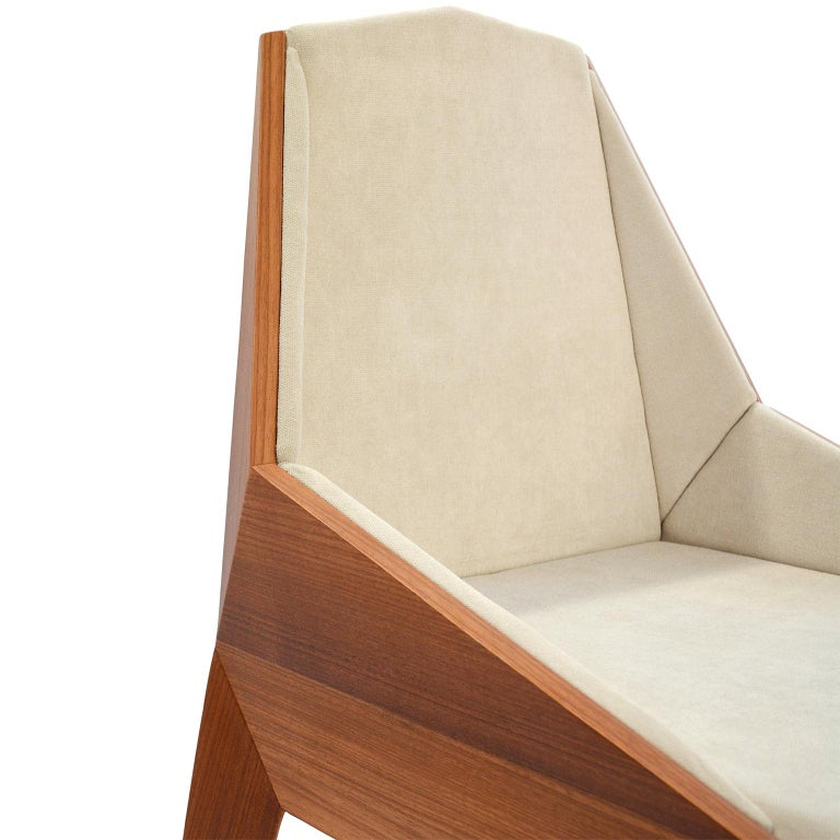 Fabric Faceted Wood Chair, Triarm, Contemporary Brazilian Design For Sale