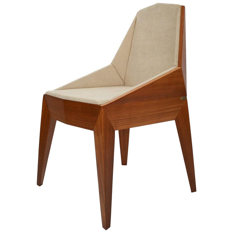 Faceted Wood Chair, Triarm, Contemporary Brazilian Design For Sale