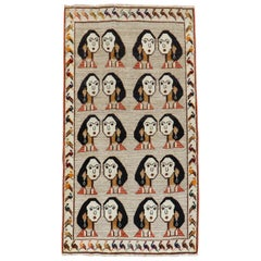 Facial Lady Pigeon Border Persian Gabbeh Rug, 20th Century