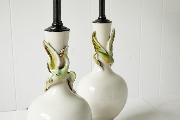Facing Pair of Art Deco Ceramic Lamps with Birds 6