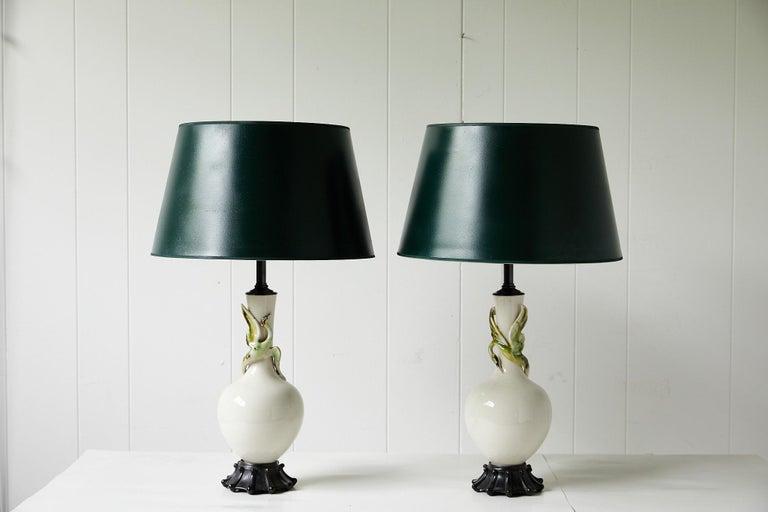 Facing Pair of Art Deco Ceramic Lamps with Birds 8