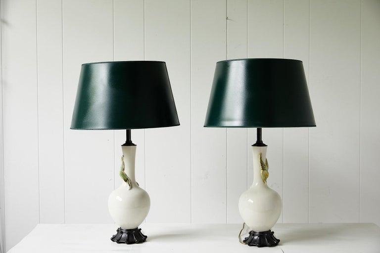 Facing Pair of Art Deco Ceramic Lamps with Birds 9