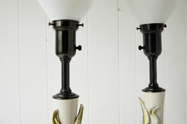 Facing Pair of Art Deco Ceramic Lamps with Birds 3