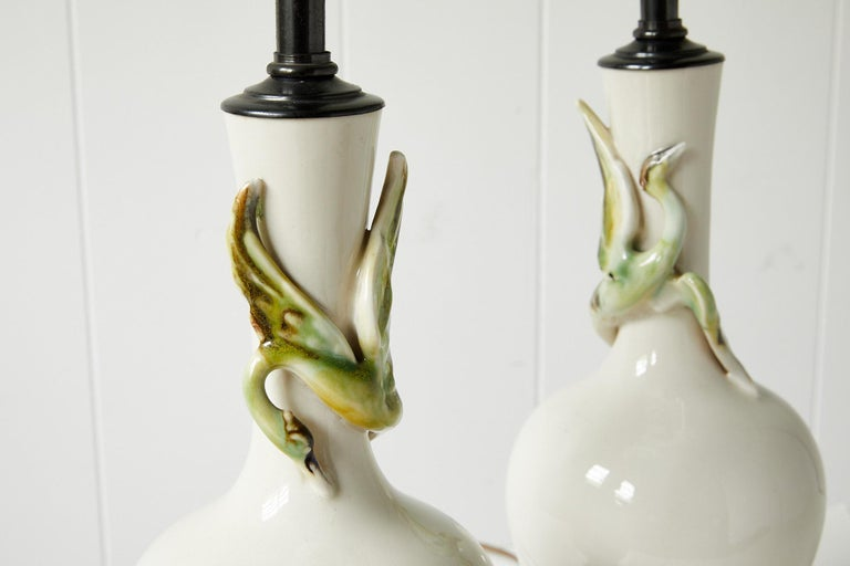 Facing Pair of Art Deco Ceramic Lamps with Birds 4