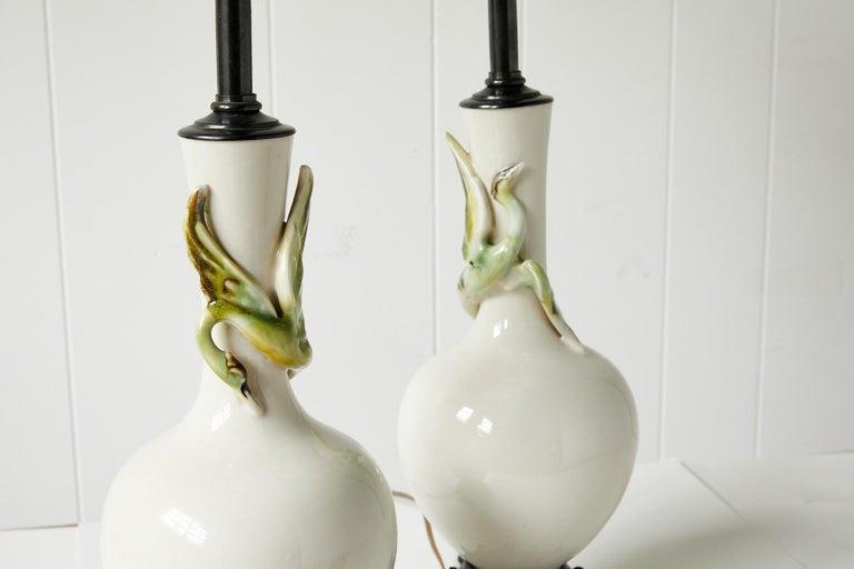 Facing Pair of Art Deco Ceramic Lamps with Birds 5