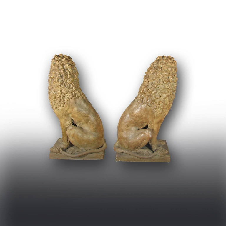 An elegant pair of Italian terracotta lions sitting on their haunches with well-defined muzzle, mane, paws. The heads of the lions are turned in opposing directions with their animated facial expressions. The sculptures do have a beautiful color